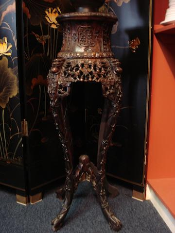 Carved and pierced jardiniere stand Chinese 19th century