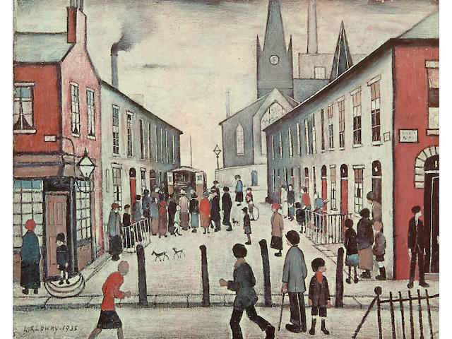 "Laurence Stephen Lowry R.A. (British, 1887-1976) ""Fever Van"" signed in pencil, with the blindstamp for the Fine Art Trade Guild, from an edition of 700, a colour reproduction. 43 x 53cm"