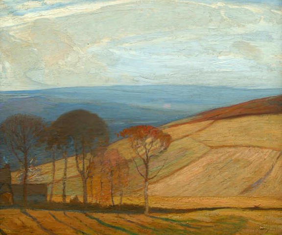 Mark Senior (British, 1864-1927) A North Yorkshire farm and fields