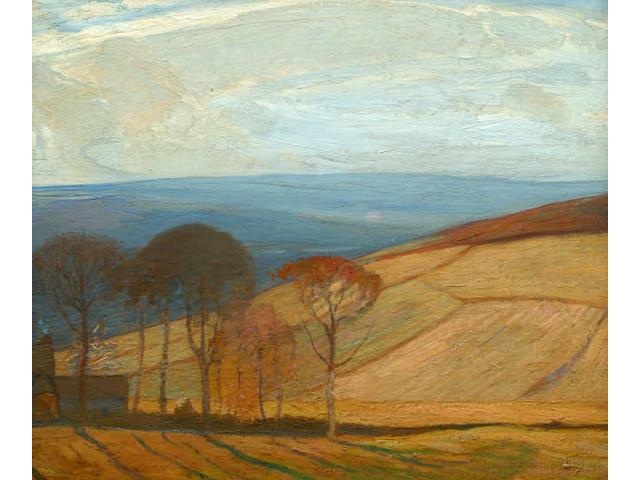 Mark Senior (British, 1864-1927) A North Yorkshire farm and fields