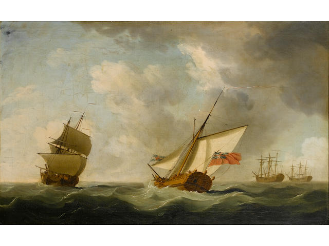 Follower of Peter Monamy (British, 1681-1749) An Admiralty Yacht running past an inbound man-o'war w