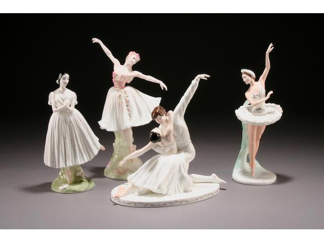Four Coalport 'Ballet' figures