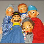 Set of five Punch and Judy glove puppets, 5