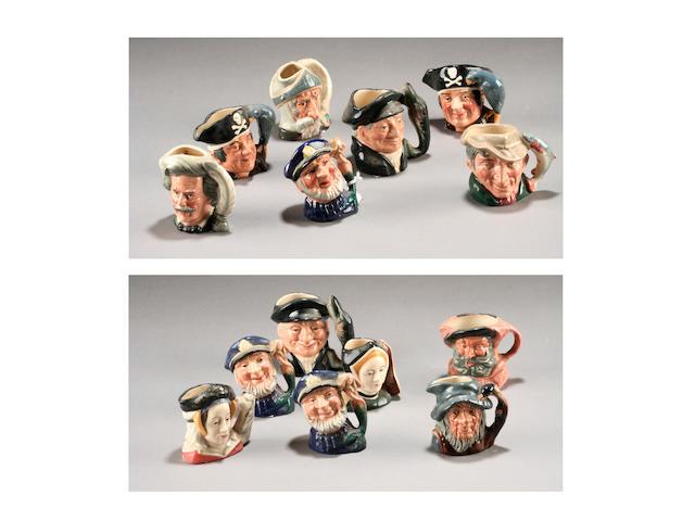 Fourteen miniature Character jugs