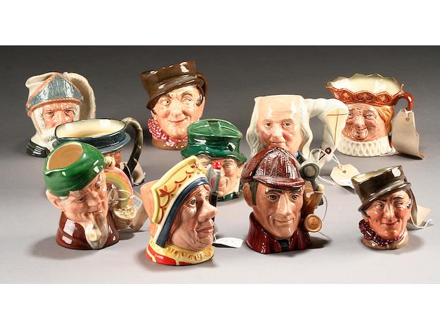 Ten small Character Jugs