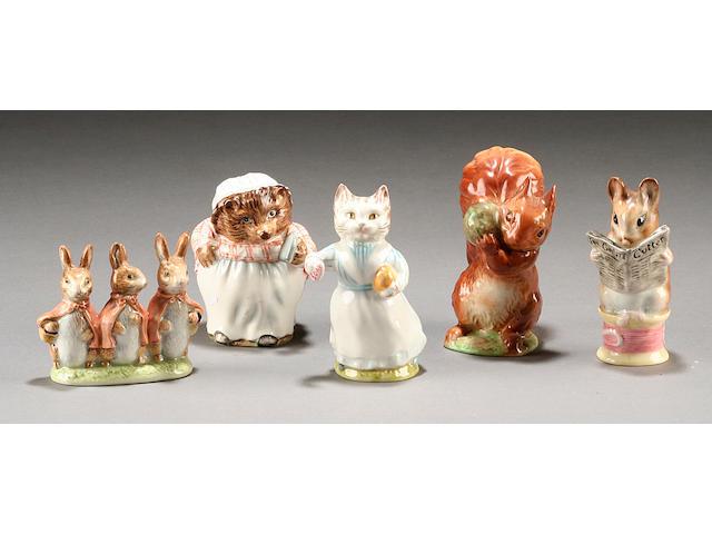 Five Beswick Beatrix Potter figures