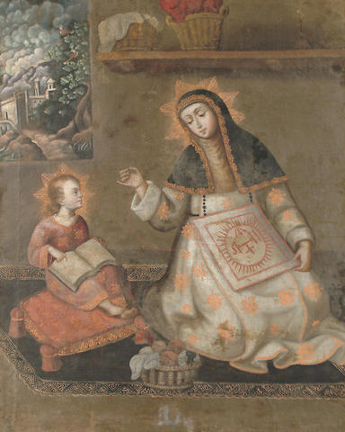 Spanish Colonial School, 17th Century Christ and the Virgin in the House at Nazareth 95 x 76.8cm (37 3/8 x 30 1/4in)