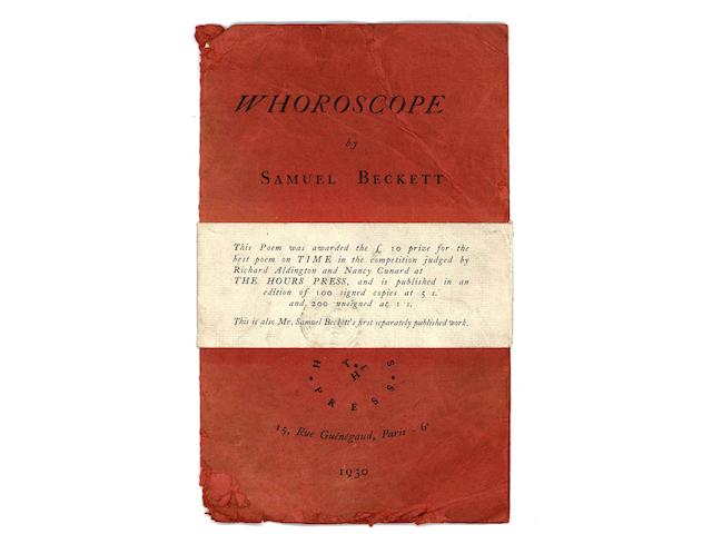 BECKETT (SAMUEL) Whoroscope, FIRST EDITION, NUMBER 42 OF 100 COPIES SIGNED BY THE AUTHOR