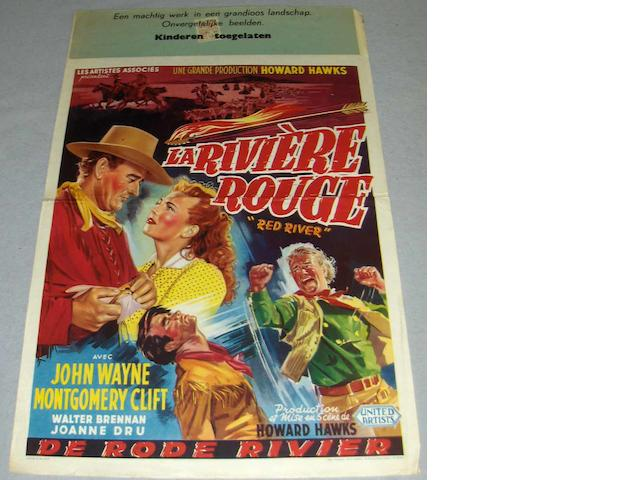 A collection of six John Wayne and Gary Cooper related Belgian film posters, including;