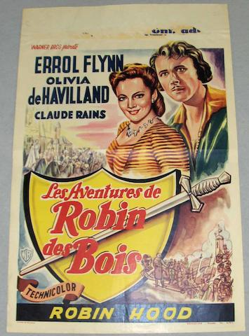 A collection of seven Errol Flynn related Belgian film posters, including;