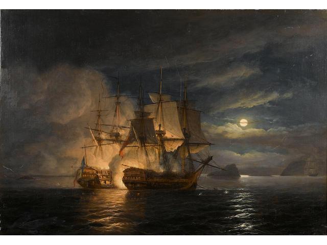 Thomas Luny (British, 1759-1837) The French '74 'Hercule' surrendering to H.M.S. 'Mars' off Brest, 21st. April 1798 61 x 86.3cm. (24 x 34in.)