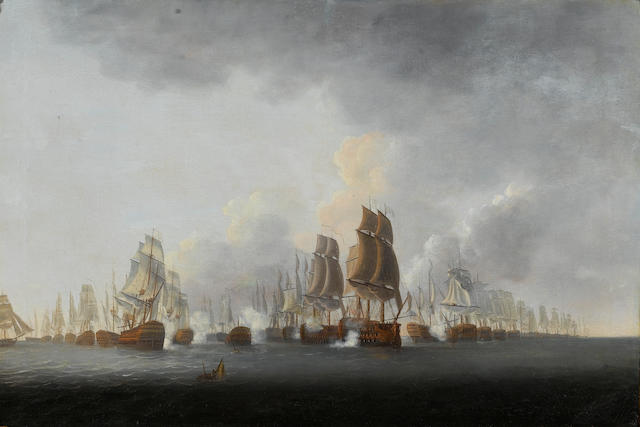 Lieut. William Elliott, R.N. (active 1784-1795) Lord Rodney's flagship 'Formidable' breaking through the French line at the battle of the Saintes, 12th. April 1782 61 x 91.4cm. (24 x 36in.)