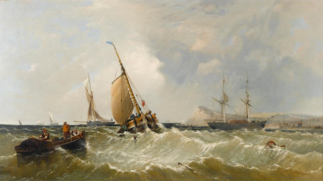 James Meadows, Snr. (British, 1788-1864) Hauling in the nets 61 x 108 cm. (24 x 42 1/2 in.)