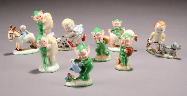 A collection of seven Shelley figures of Boo Boo pixies by Mabel Lucie Attwell