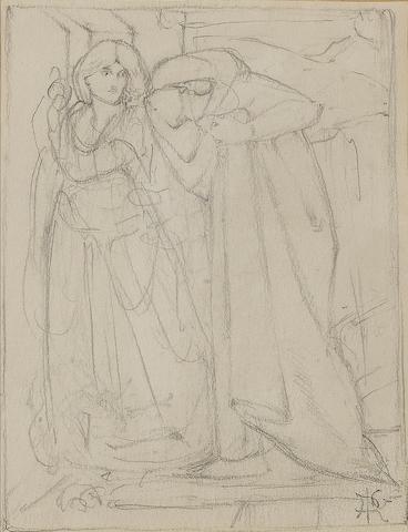 Attributed to Dante Gabriel Rossetti (British, 1828-1882) Dante and Beatrice 9 7/10 x 13 cm (3 7/8 x 5 1/8 in.)