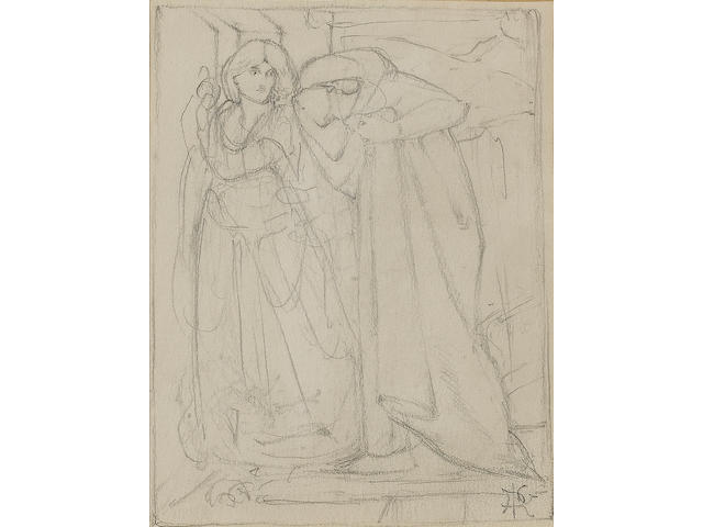 Attributed to Dante Gabriel Rossetti (British, 1828-1882) Dante and Beatrice 9 7/10 x 13 cm (3 7/8 x 5 1/8 in.)