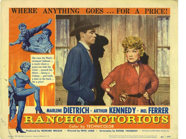 A collection of nine Western film related lobby cards, including;