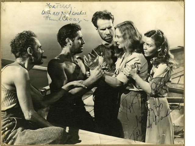 A black and white still autographed by Tallulah Bankhead and Hume Cronyn, the still featuring image from Lifeboat, 1944,