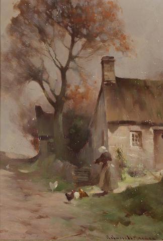 Robert Russell MacNee (British, 1880-1952) Feeding the hens