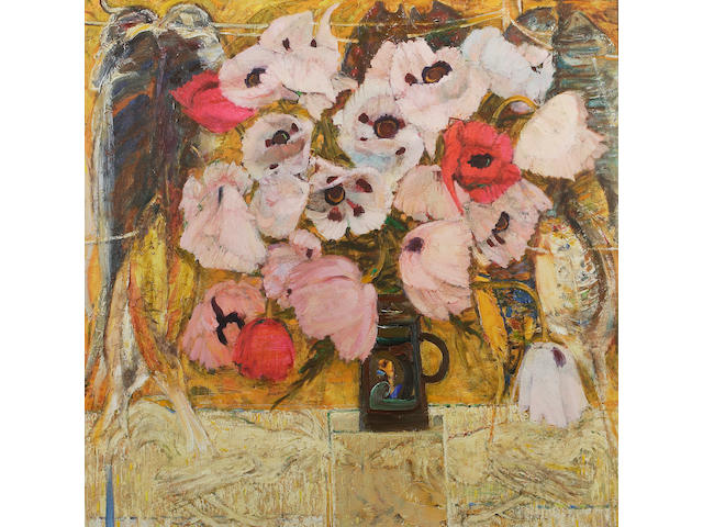 "Sir Robin Philipson, RA PRSA FRSA RSW RGI DLitt LLD (British, 1916-1992) ""Poppies against an unfinished painting"""