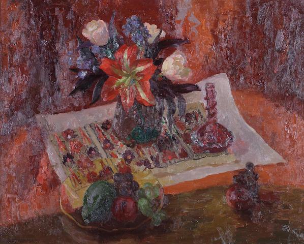"Mary Armour, RSA RSW (British, 1902-2000) ""Still life with amaryllis"""