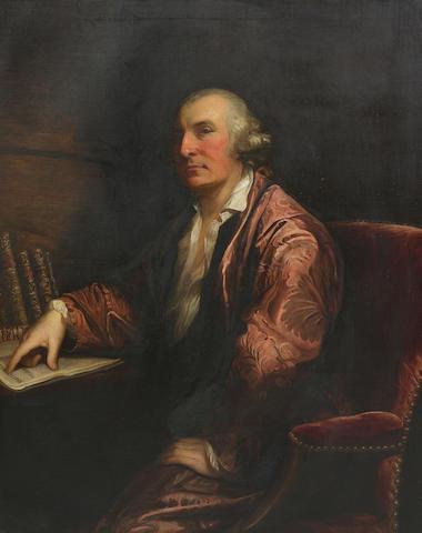 David Martin (British, 1737-1797) Three-quarter length portrait of Rev Dr Alexander 'Jupiter' Carlyle of Inveresk, seated at his desk