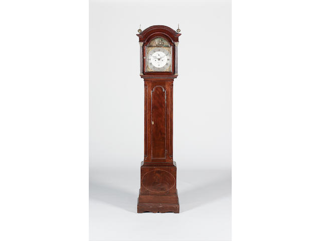 A late 18th century mahogany and boxwood strung long case clock with rocking ship automata Richard Long, Deal