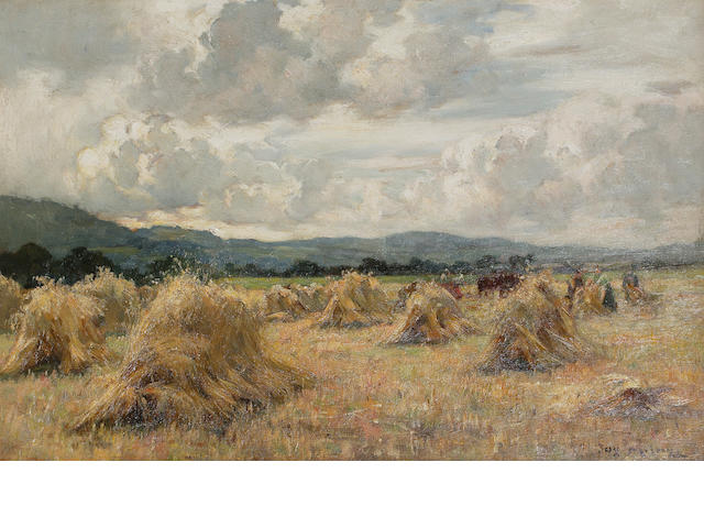 Joseph Milne (British, 1857-1911) Haymaking in Carse of Gowrie
