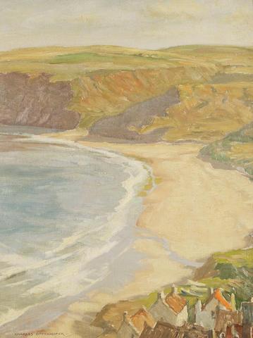"""Charles Oppenheimer, RSA RSW (British, 1876-1961) """"Runswick Bay"""""""