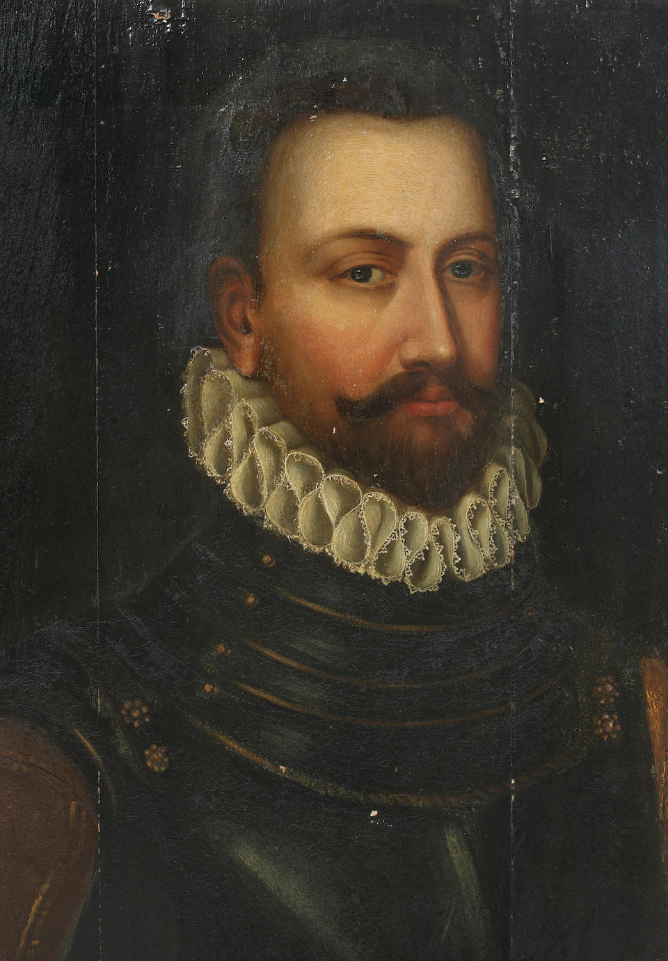 Follower of Antonis Mor (Dutch, 1517-1575) Half length portrait of General Henry Balfour, in armour with plumed helmet and sword