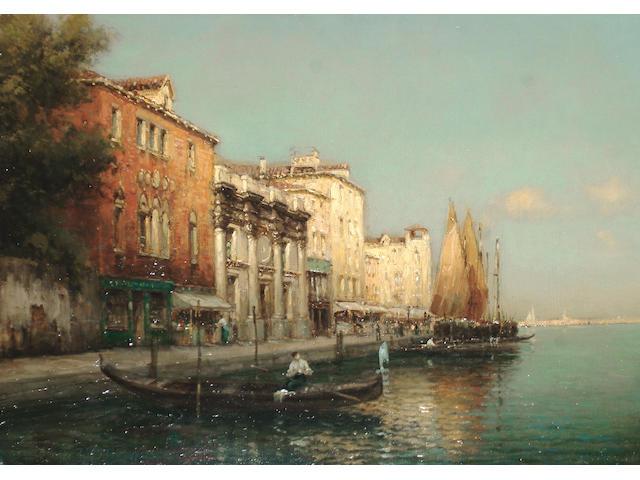 Antoine Bouvard (French, 1870-1956) A Venetian canal scene