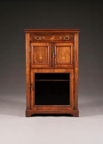 A late Victorian inlaid rosewood music cabinet