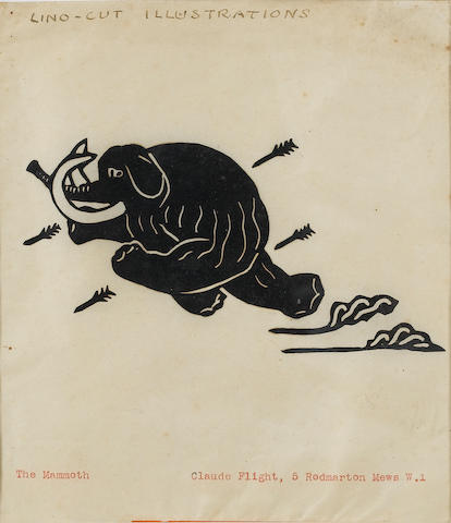 Claude Flight (English, 1881-1955) A Collection Linocuts, including 'Good wishes from CF and EL', 'M