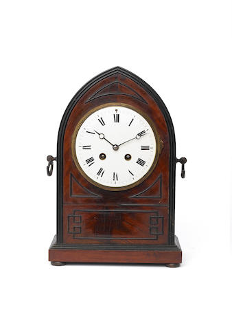 An early 20th century mahogany lancet cased mantel clock Unsigned