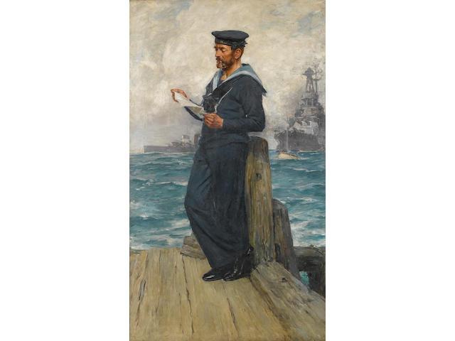 Arthur David McCormick, RI (British, 1860-1943) A sailor from H.M.S. 'Invincible' 176.3 x 101.6cm. (69 3/8 x 40in.)