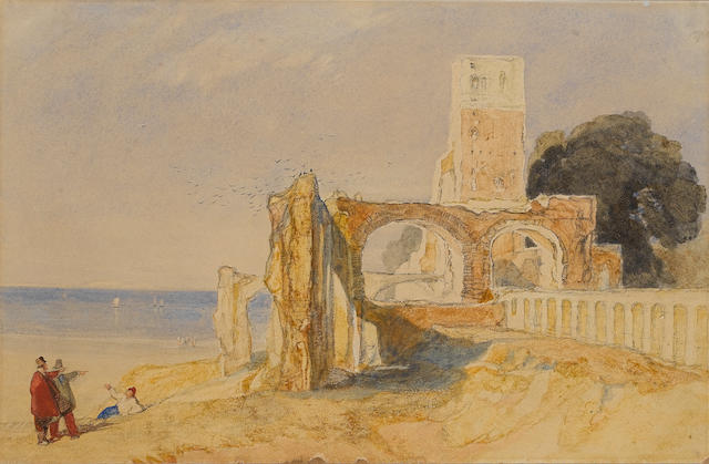 John Sell Cotman (British, 1782-1842) Ruins in Normandy 27 x 41.5 cm.