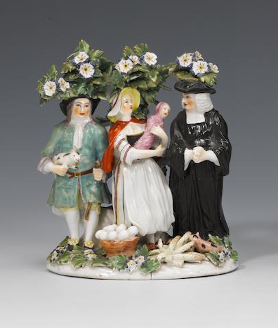 A Derby 'Tithe Pig' group circa 1765