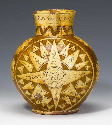 A dated Barnstaple slipware harvest jug dated 1812