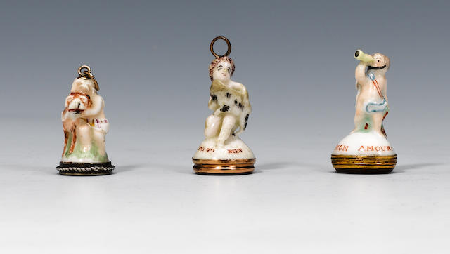 A St James (Charles Gouyn) seal and two Chelsea seals circa 1751-60