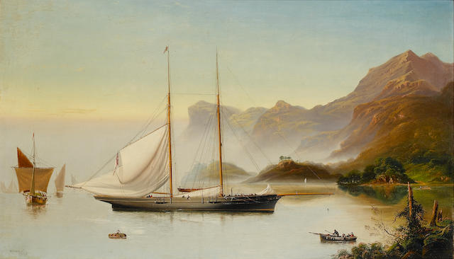 "Captain James Haughton Forrest (Australian, 1825-1924) The Duke of Rutland's Schooner Yacht ""Shark"" in the Kyles of Bute off Scotland 45 x 76 cm. (17¾ x 30 in.)"