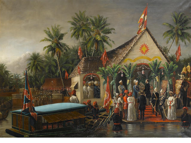 Raja Ravi Varma (India, 1848-1906) The Maharaja of Travancore and his younger brother welcoming Richard Temple-Grenville, 3rd Duke of Buckingham and Chandos, Governor-General of Madras (1875-80), on his official visit to Trivandrum in 1880