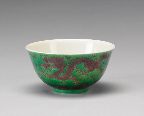 A green-ground bowl