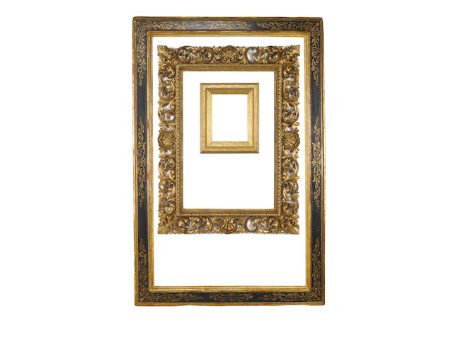 An Italian 17th Century parcel gilt and black painted cassetta frame