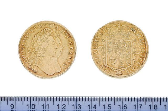 William and Mary (1688-94), Five Guineas, 1694, SEXTO, conjoined busts right, regnal year on edge in words,