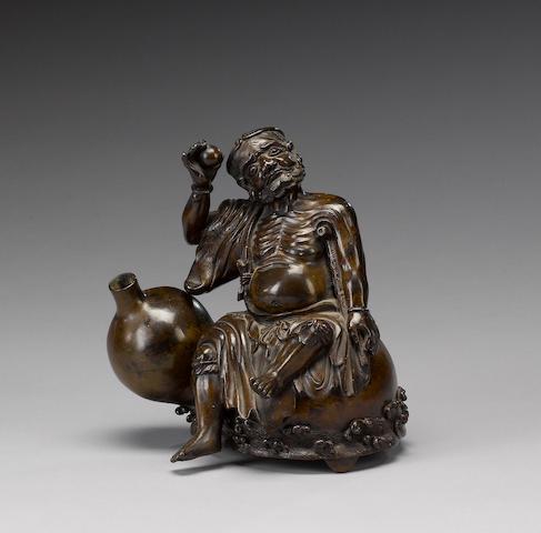 A bronze censer of an emaciated figure [possibly Li T'ieh-kuai];