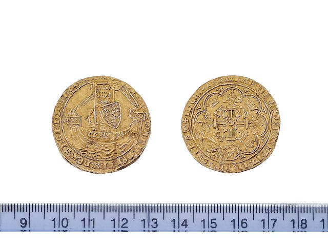Edward III, 1327-77, fourth coinage (1351-77), treaty period (1361-69), Noble, 7.7g, London, King standing facing in ship, holding sword and shield, reads EDWARD DEI GRA REX ANGL DNS HYB Z AQT, saltire before EDWARD(?),
