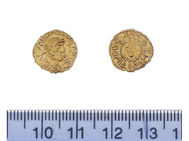 Early Anglo-Saxon period (c.600-c.775), Crundall types (c.620-c.645), gold sceat (Thrymsa), Bust right, AVDVARLD REGES, 1.4g,