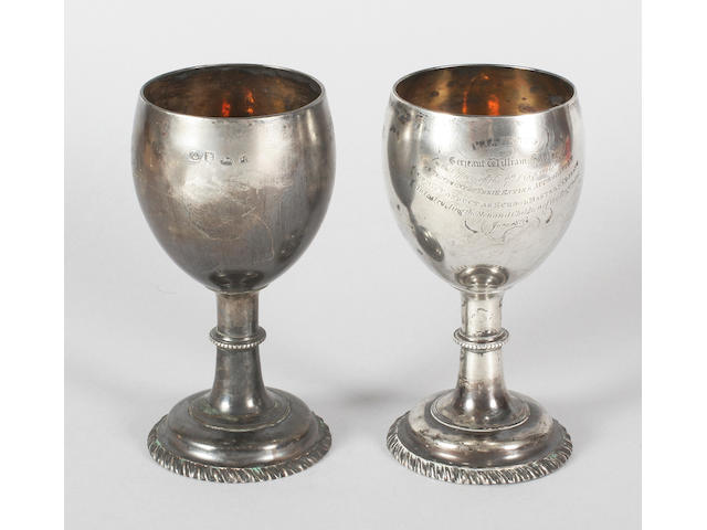 Regimental interest- a pair of George III goblets By Jacob Marsh or John Moore, 1774,  (2)