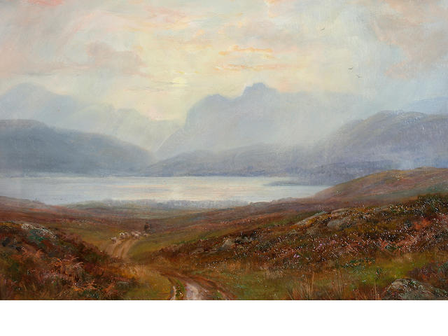 William Lakin Turner (British, 1867-1936) 'Evening Showers, Langdale Pikes',