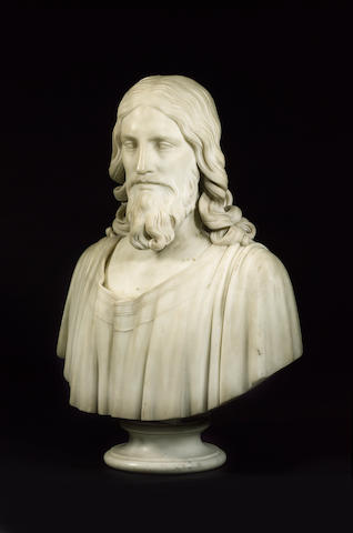 Hiram Powers (American, 1805-1873): A sculpted white marble Bust of Christ